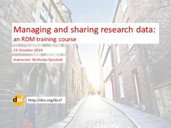 Download the full-sized PDF of Managing and sharing research data:​  an RDM training course [other]